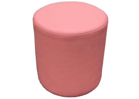 Drum Stool Seating in Pink Faux Leather - Footstools Direct