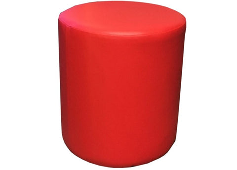 Drum Stool Seating in Luxury Poppy Red Faux Leather - Footstools Direct