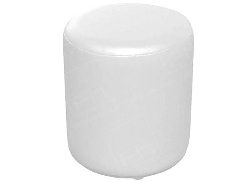 Drum Stool Seating in Luxury Aged White Leather - Footstools Direct