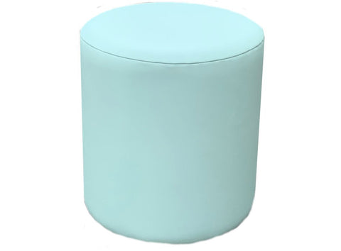 Drum Stool Seating in Ocean Grey Faux Leather