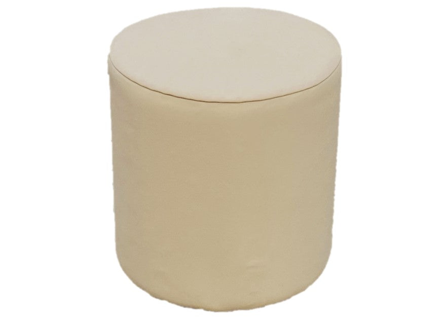 Drum Stool Seating in Mushroom Faux Leather