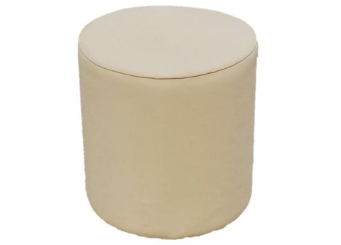 Drum Stool Seating in Luxury Ivory Leather