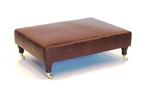 Luxury Upholstered Large Footstool in Aged Dark Brown Leather with Dark Caster Legs - Footstools Direct