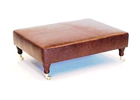 Luxury Upholstered Large Footstool in Aged Rust Leather with Dark Caster Legs - Footstools Direct