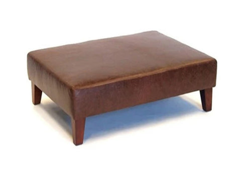 Luxury Upholstered Large Footstool in Aged Dark Brown Leather with Dark Contemporary Legs - Footstools Direct