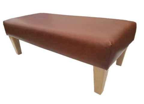 Luxury Upholstered Long Footstool in Aged Rust Leather with Light Contemporary Legs - Footstools Direct