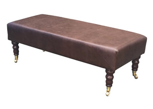 Luxury Upholstered Long Footstool in Aged Dark Brown Leather with Dark Caster Legs - Footstools Direct