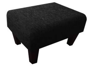 Charcoal Chenille Fabric Footstool with Dark Contemporary Legs