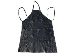 Workwear Apron in Aged Black Leather - Footstools Direct