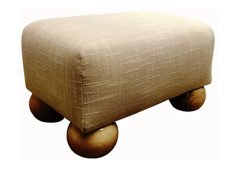 Luxury Upholstered Small Footstool in Cream Slub Fabric with Light Bun Feet - Footstools Direct