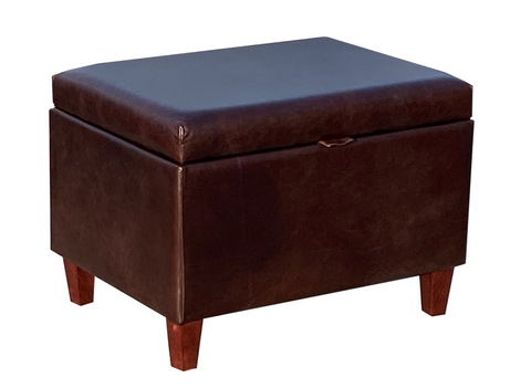 Aged Dark Brown Leather Ottoman with Mahogany Contemporary Legs