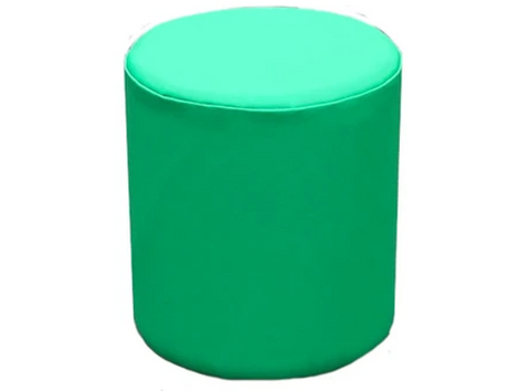 Drum Stool Seating in Empire Green Faux Leather