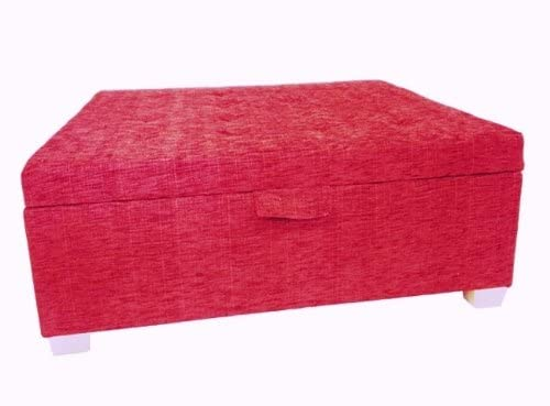 Coral Ravello Fabric Fabric Ottoman with Natural Chunky Legs