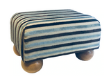 Luxury Upholstered Small Footstool in Light Blue Stripe Velvet Fabric with light Bun Feet - Footstools Direct