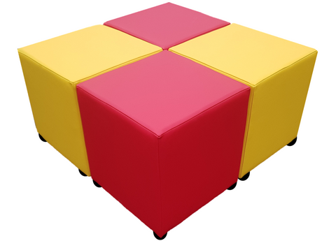 Cube Seating Red and Yellow Collection - Footstools Direct