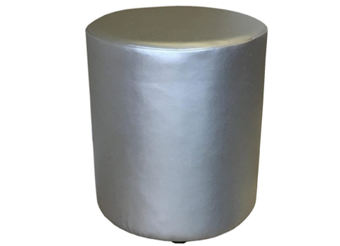 Drum Stool Seating in Silver Faux Leather