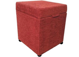 Cube Storage Ottoman in Wine Chenille Fabric - Footstools Direct