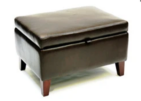 Luxury Upholstered Large Storage Ottoman in Black Leather - Footstools Direct