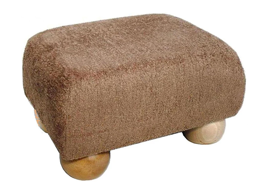Luxury Upholstered Small Footstool in Taupe Chenille Fabric with Light Bun Feet - Footstools Direct