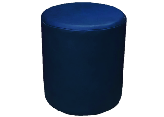 Drum Stool Seating in Cornflower Blue Faux Leather