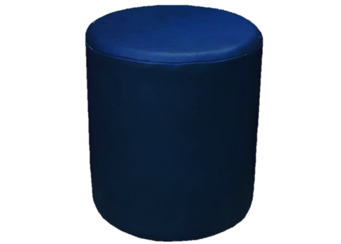 Drum Stool Seating in Luxury Cornflower Blue Faux Leather