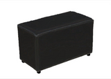Cube Double Seating in Luxury Black Faux Leather - Footstools Direct
