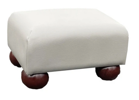 Flake Grey Faux Leather Footstool with Mahogany Bun Feet