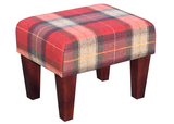 Luxury Upholstered Medium Footstool in Tartan Red Fabric with Dark Contemporary Legs - Footstools Direct