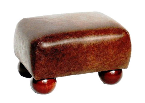 Luxury Upholstered Footstool in Brown Faux Leather with Dark Wood Feet. - Footstools Direct