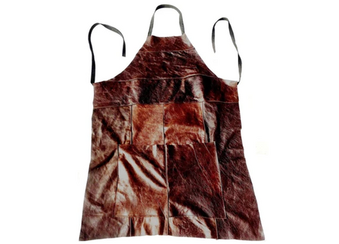 Workwear Apron in Aged Dark Brown Leather - Footstools Direct