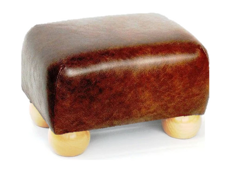 Luxury Upholstered Small Footstool in Brown Faux Leather with Light Bun Feet