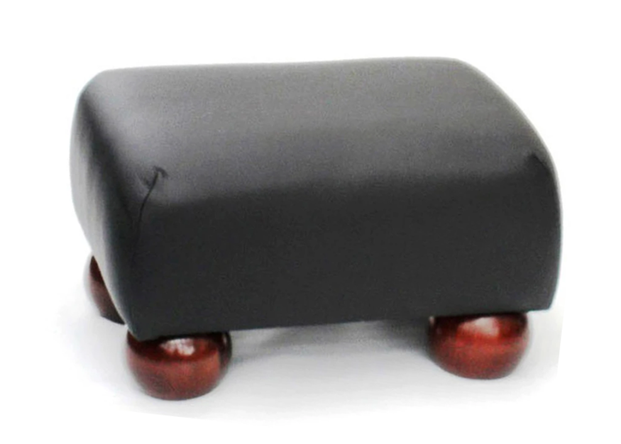 Luxury Upholstered Small Footstool in Aged Black Leather with Dark Bun Feet - Footstools Direct