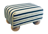 Luxury Upholstered Small Footstool in Gold Stripe Velvet Fabric with Light Bun Feet - Footstools Direct