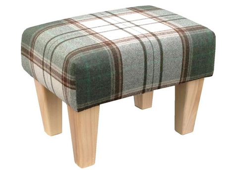 Luxury Upholstered Medium Footstool in Tartan Olive Fabric with Light Contemporary Legs - Footstools Direct
