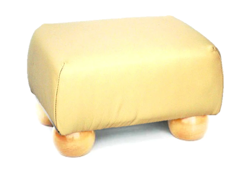 Luxury Upholstered Small Footstool in Mushroom Faux Leather with Light Bun Feet - Footstools Direct