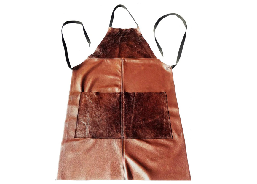Workwear Apron in Mixed Brown Leathers - Footstools Direct