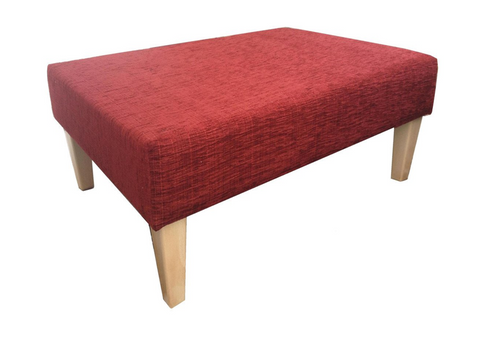 Luxury Upholstered Large Footstool in Wine Chenille Fabric with Light Contemporary Legs - Footstools Direct