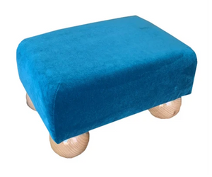 Teal Blue Velvet Fabric Footstool with Natural Bun Feet