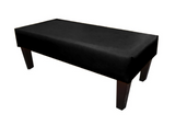 Luxury Upholstered Long Footstool in Aged Black Leather with Dark Contemporary Legs - Footstools Direct