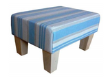 Luxury Upholstered Medium Footstool in Duck Egg Woven Stripe Velvet Fabric with Light Contemporary Legs - Footstools Direct
