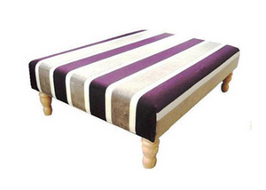 Luxury Upholstered Large Footstool in Damson Velvet Stripe Fabric with Light Turned Legs - Footstools Direct