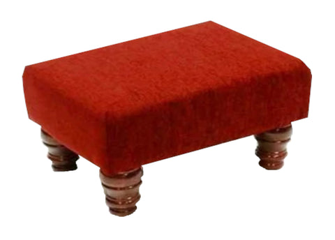 Wine Chenille Fabric Footstool with Mahogany Turned Legs