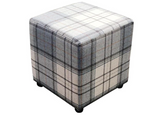 Cube Seating in Luxury Grey Tartan Fabric - Footstools Direct