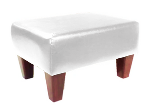 Luxury Upholstered Medium Footstool in White Faux Leather with Dark Contemporary Legs - Footstools Direct