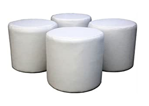 Four White Faux Leather Drum Stools For The Price Of Three