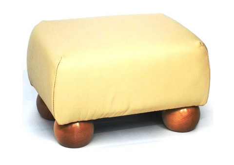 Luxury Upholstered Small Footstool in Mushroom Faux Leather with Dark Bun Feet - Footstools Direct