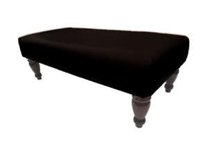 Luxury Upholstered Long Footstool in Aged Black Leather with Dark Turned Legs - Footstools Direct