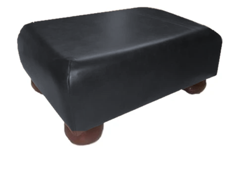 Aged Black Leather Footstool with Mahogany Bun Feet