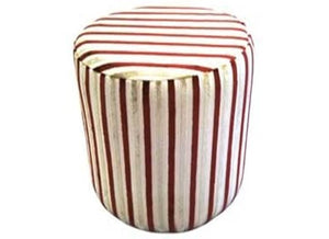 Drum Stool Seating in Red Stripe Velvet Fabric