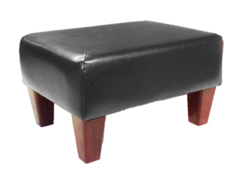 Luxury Upholstered Medium Footstool in Black Faux Leather with Dark Contemporary Legs - Footstools Direct